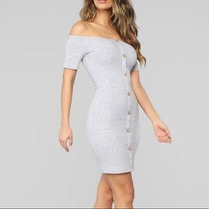 Justine Off Shoulder Dress-Heather Grey